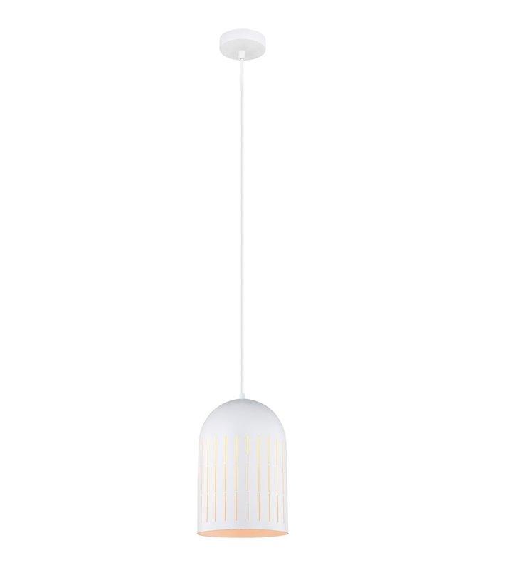 Lampa wisząca Zonder biała głęboka kopuła metalowa wycięcia w kloszu rozpraszające światło