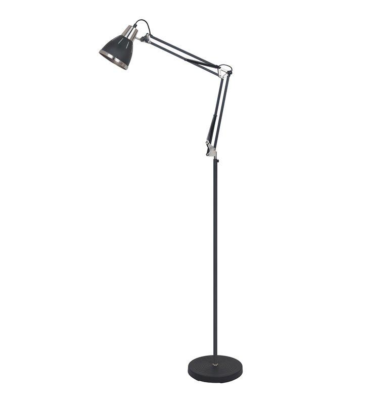 Lampa podłogowa Remiro czarna metalowa z niklowanymi detalami regulacja do pokoju i biura