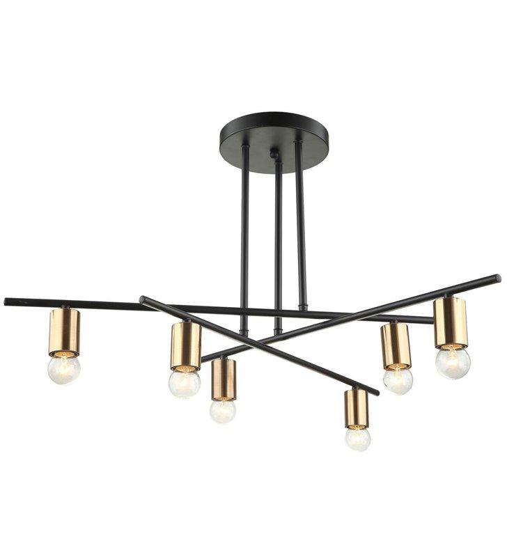 Industrialna nowoczesna lampa bez kloszy Normani czarna brązowe detale