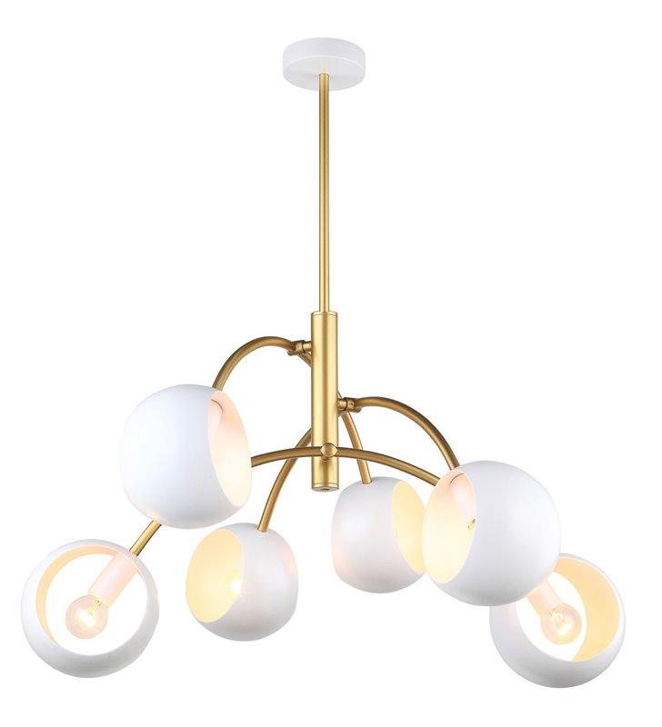 Biało złoty nowoczesny żyrandol Melvo 6 żarówek sztywne zawieszenie