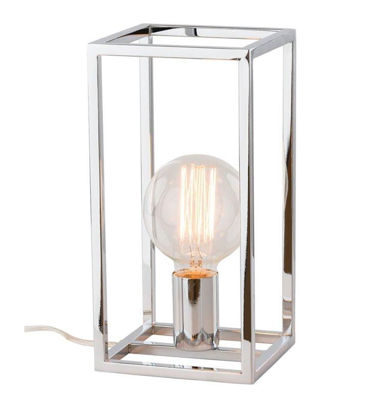 Nieduża nowoczesna minimalistyczna lampka stołowa Sigalo z widoczną żarówką chrom włącznik na kablu