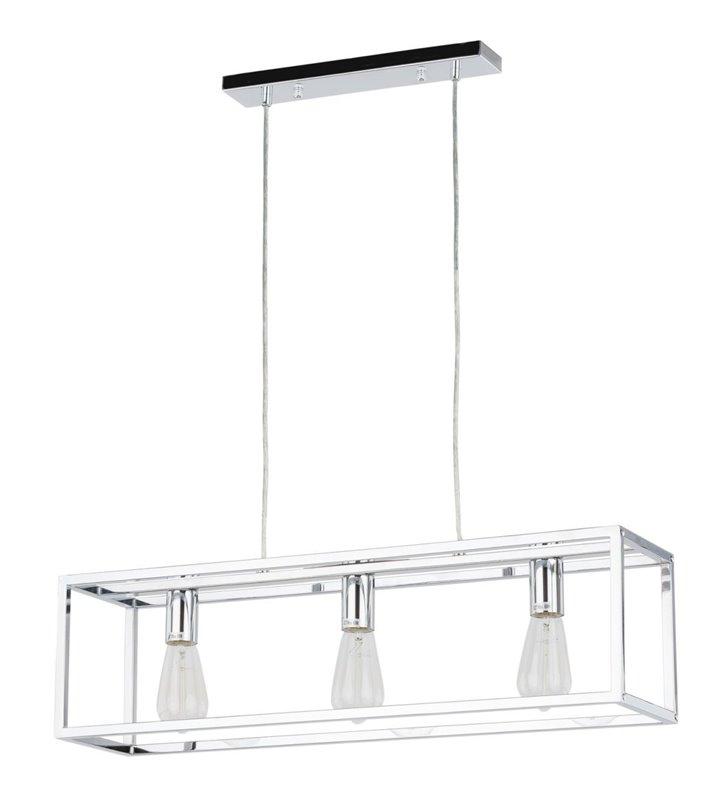 Lampa wisząca Sigalo chrom prostokątna podłużna na 3 żarówki np. nad wyspę kuchenną lub stół do kuchni jadalni