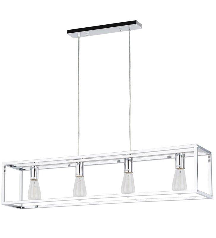 Podłużna prosta lampa wisząca Sigalo chrom z widocznymi żarówkami np. nad wyspę kuchenną lub stół do kuchni jadalni