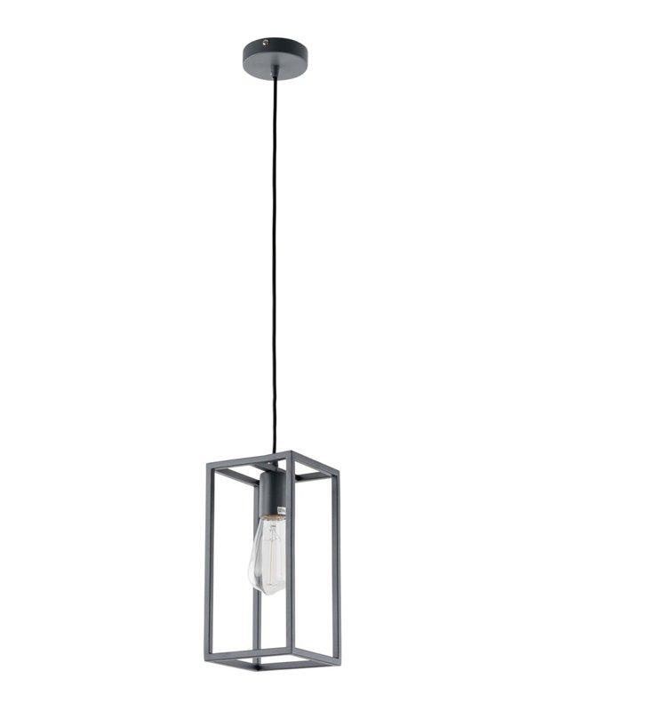 Lampa wisząca Sigalo szara metalowa konstrukcja z widoczną żarówką do salonu sypialni kuchni jadalni