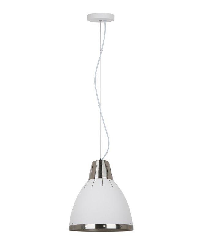 Pojedyncza biała metalowa lampa wisząca Merton detale w kolorze nikiel satyna średnica 30cm długi zwis