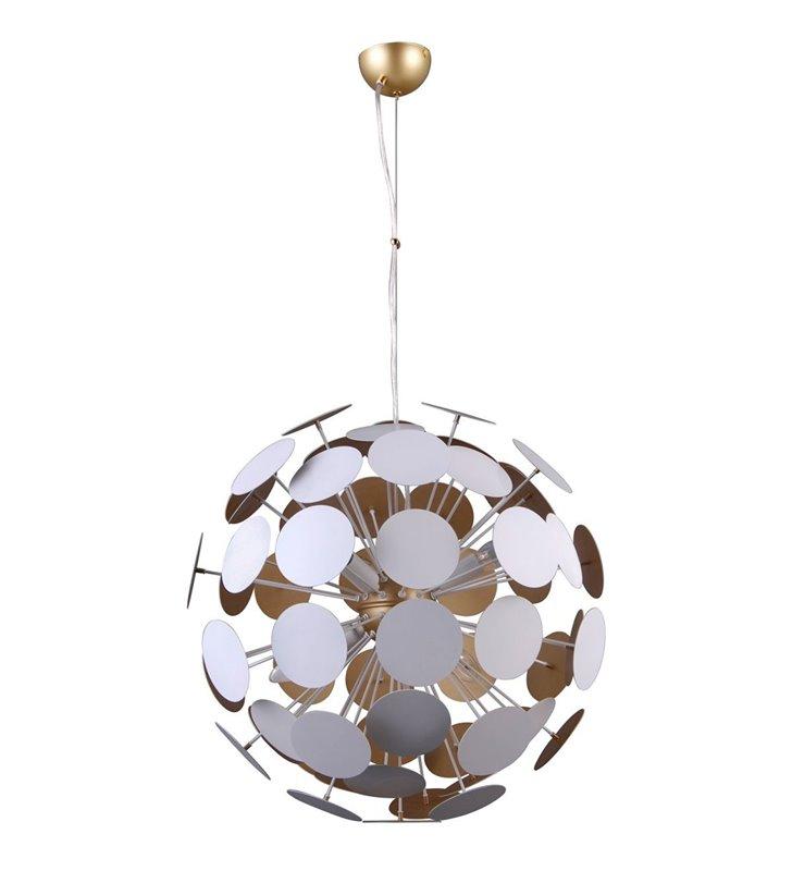 Nowoczesna designerska biało złota lampa wisząca Mailone klosz składa się z metalowych krążków do salonu sypialni jadalni kuchni