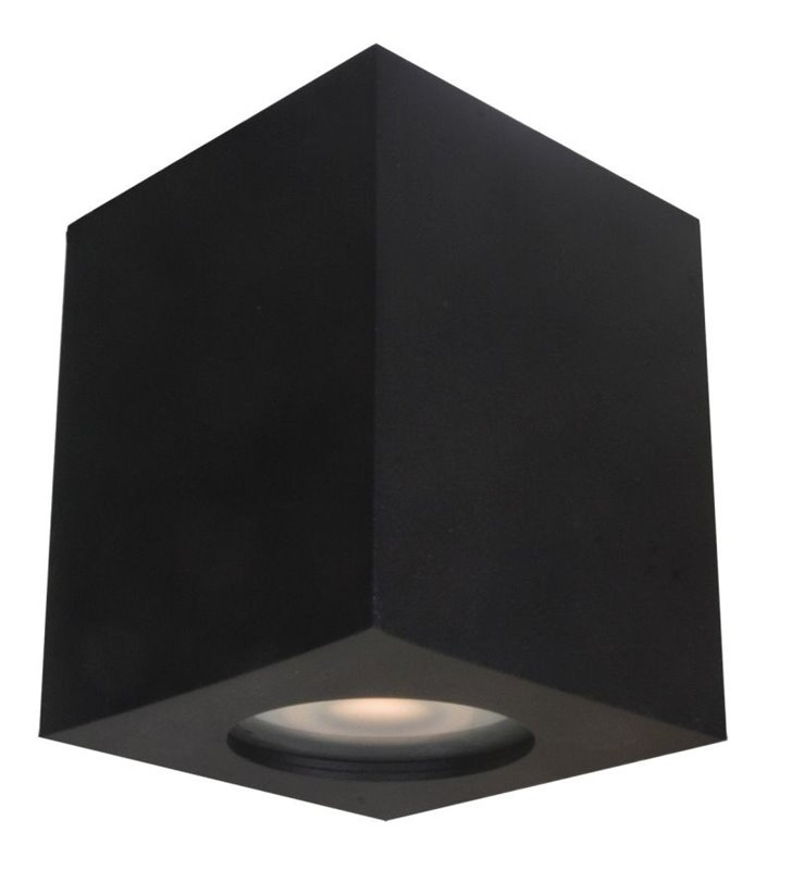 Łazienkowa kwadratowa lampa na sufit typu downlight Fabrycio czarna IP44