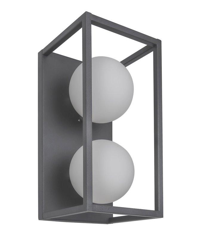 Kinkiet Daisy szary metalowy prostokątny z dwoma szklanymi kloszami nowoczesny