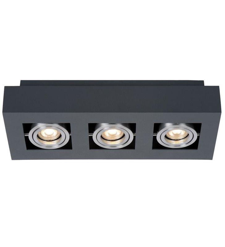 Plafon Casemiro prostokątny czarny z aluminiowymi detalami styl techniczny