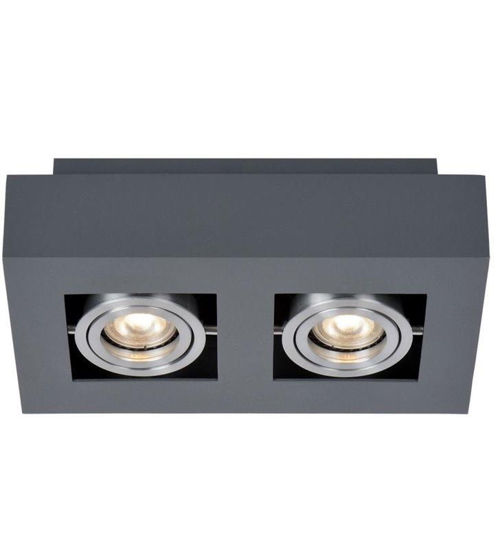 Prostokątny 2 punktowy plafon Casemiro czarny z aluminiowym wykończeniem