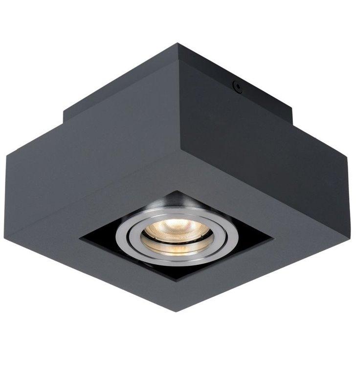 Czarny mały kwadratowy plafon Casemiro 140 nowoczesny 1xGU10 styl techniczny