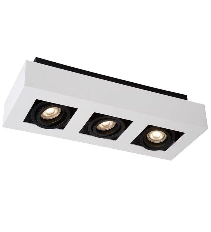 Prostokątny plafon sufitowy na 3 żarówki biało czarny Casemiro styl nowoczesny techniczny