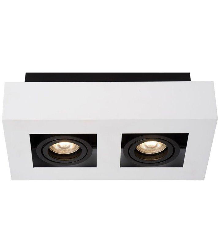 Biało czarna lampa na sufit plafon Casemiro styl techniczny