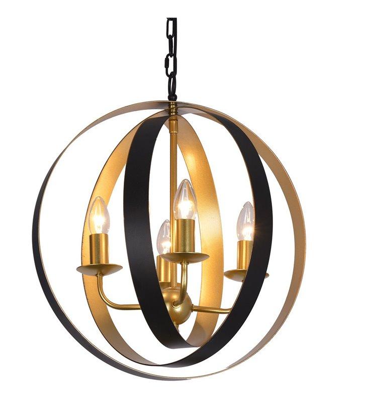 Żyrandol lampa wisząca Kaia 4 punkty świetlne czarno złoty elegancki