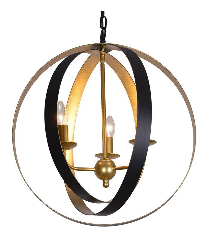 Elegancka czarno złota lampa wisząca Kaia 3 żarówki do salonu sypialni kuchni jadalni