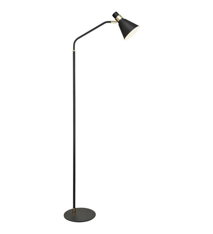 Czarna metalowa stojąca lampa podłogowa Biagio ze złotymi detalami