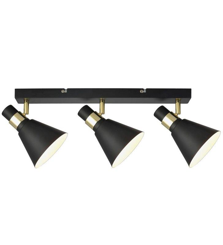 Lampa sufitowa Biagio czarna 3 punktowa listwa ze złotymi detalami