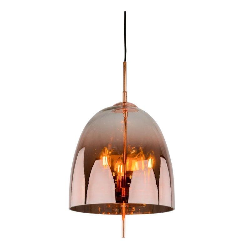 Miedziana szklana lampa wisząca Alan wewnątrz szklanego klosza 3 żarówki nowoczesna do salonu sypialni jadalni kuchni