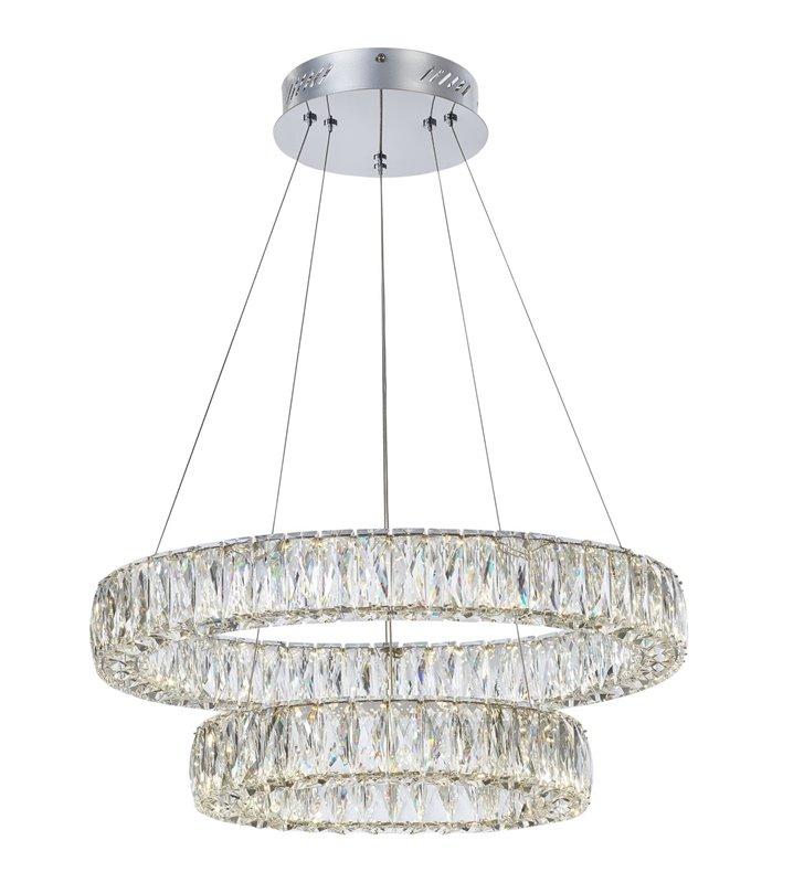 Kryształowa nowoczesna lampa wisząca Perla 2 obręcze podłużne kryształy