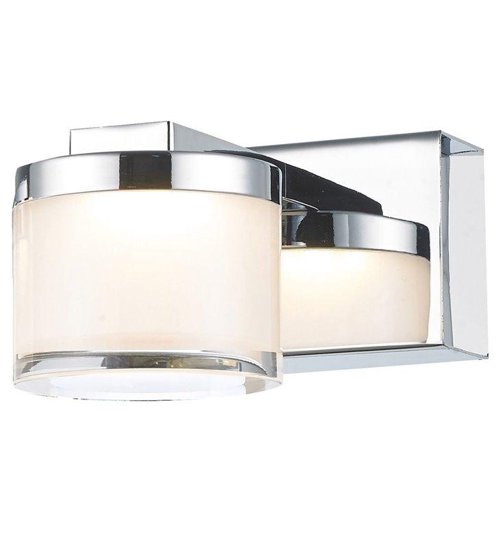 Kinkiet Lopez LED mały pojedynczy chrom biały akrylowy klosz