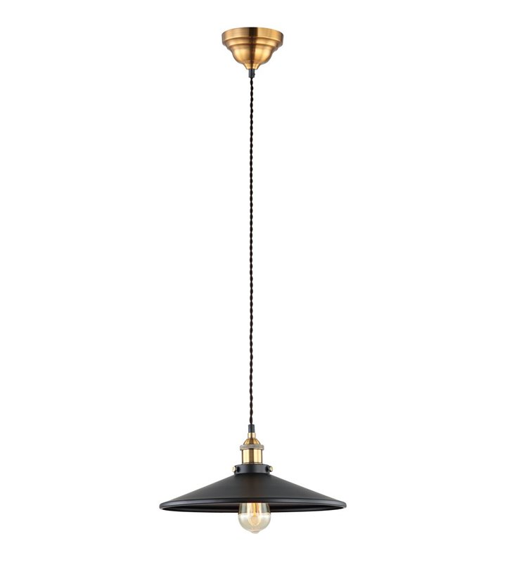 Metalowa czarna 36cm lampa wisząca Verda wykończenie złote styl retro vintage do salonu sypialni kuchni jadalni