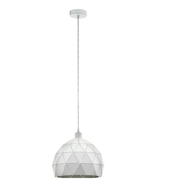 Lampa wisząca Roccaforte biała okrągła geometryczna