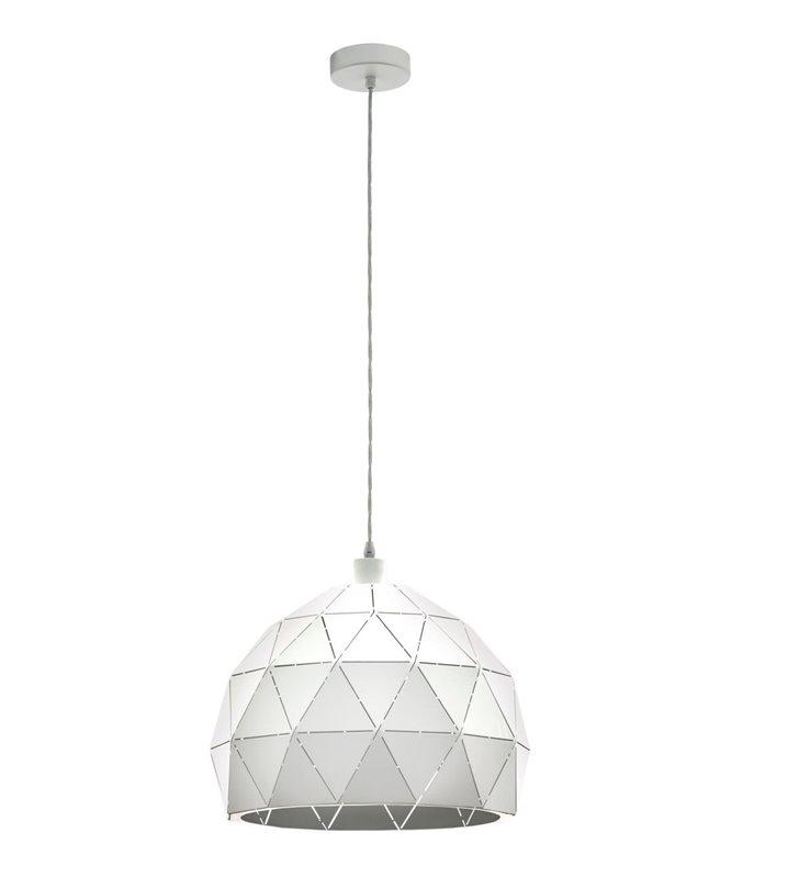 Nowoczesna pojedyncza biała lampa wisząca Roccaforte geometryczna z otworami rozpraszającymi światło średnica 40cm