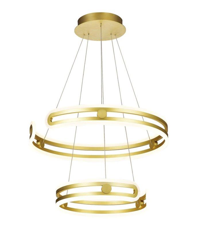 Złota 2 poziomowa lampa wisząca Kiara LED 2 obręcze nowoczesna do jadalni sypialni kuchni salonu