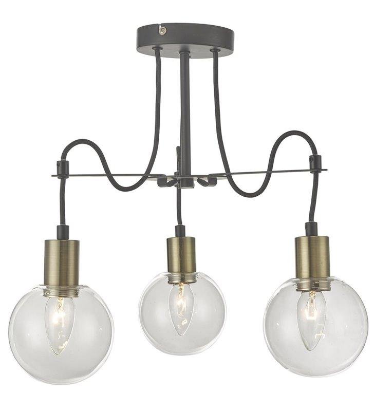 3 punktowa loftowa industrialna lampa sufitowa żyrandol Gianni bezbarwne szklane okrągłe klosze