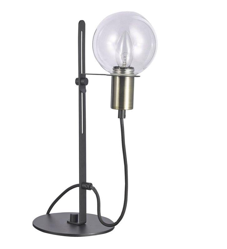 Industrialna lampa stołowa Gianni czarna metalowa z bezbarwnym okrągłym kloszem
