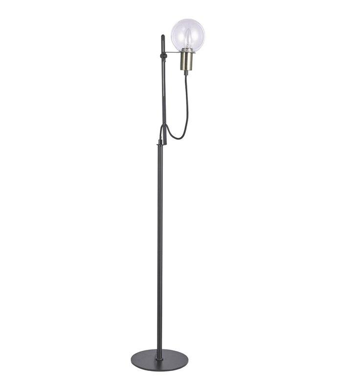 Czarna metalowa stojąca lampa podłogowa w stylu loftowym Gianni prosta forma szklany klosz
