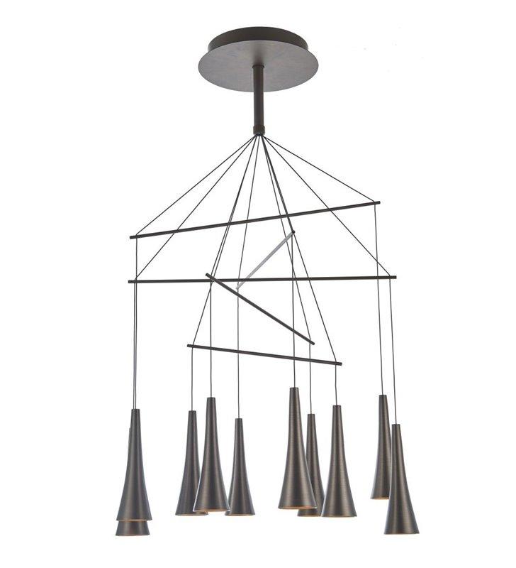Duża wielopunktowa nowoczesna lampa wisząca Luca kolor kawowy do salonu jadalni kuchni sypialni