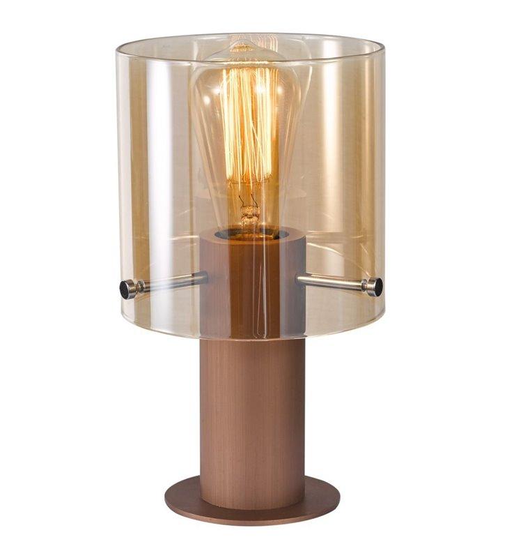 Lampa stołowa Javier brązowa nowoczesna mała z transparentnym kloszem