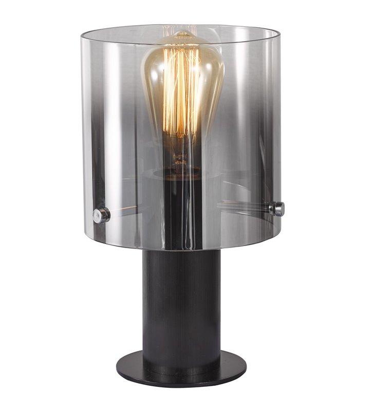 Mała czarna lampka stołowa Javier w nowoczesnym stylu klosz z przezroczystego szkła