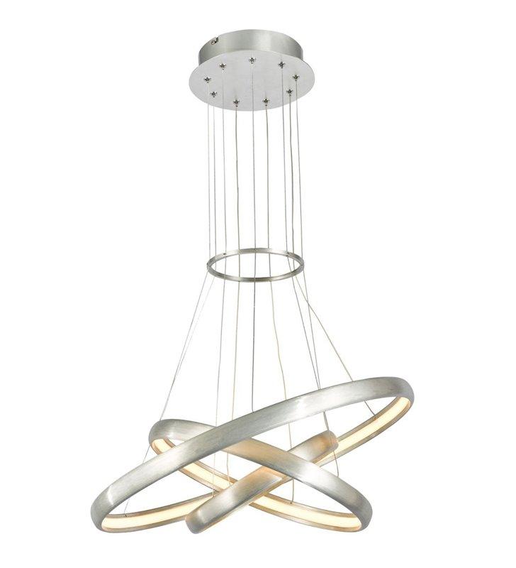 Lampa wisząca z 3 obręczami Axel w kolorze aluminium do wnętrz nowoczesnych