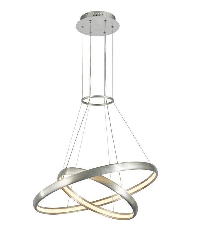 Lampa wisząca Axel w kolorze aluminium 2 obręcze styl nowoczesny