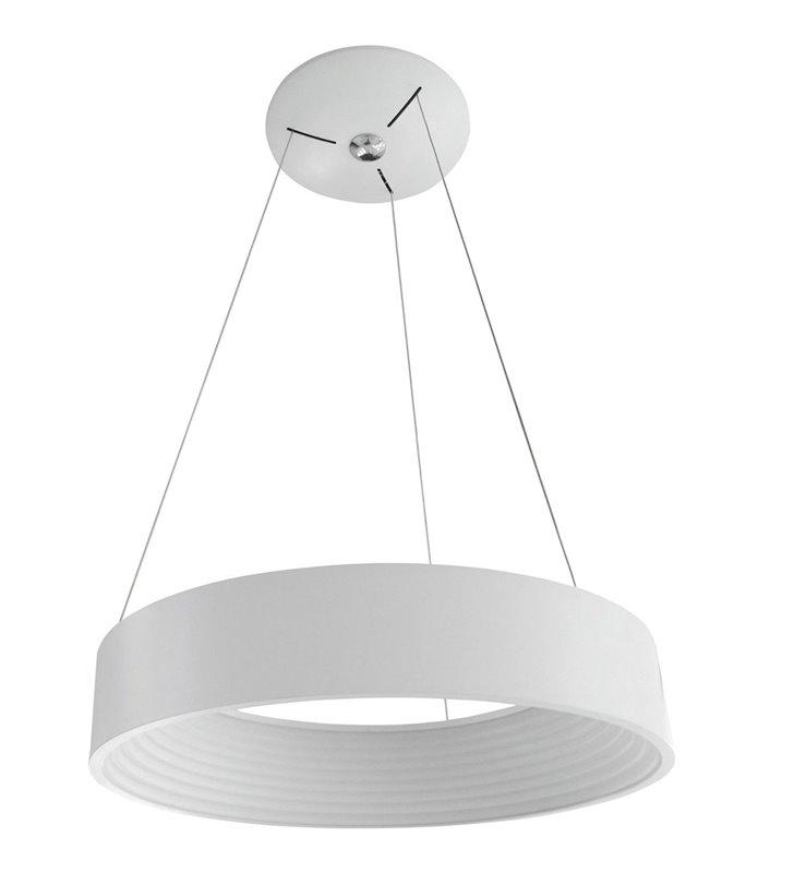 Średnia biała lampa wisząca Mattia średnica 45cm do kuchni jadalni salonu sypialni