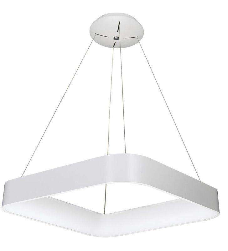 Lampa wisząca Luigi biała kwadratowa nowoczesna do salonu kuchni jadalni sypialni