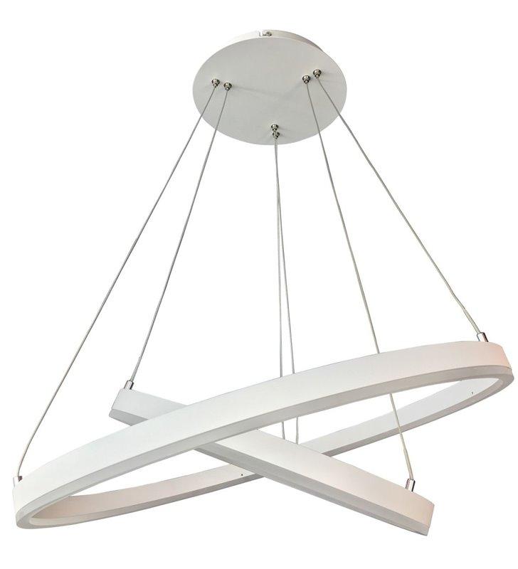 Biała wisząca lampa Jovita 2 obręcze LED nowoczesna do salonu sypialni kuchni jadalni