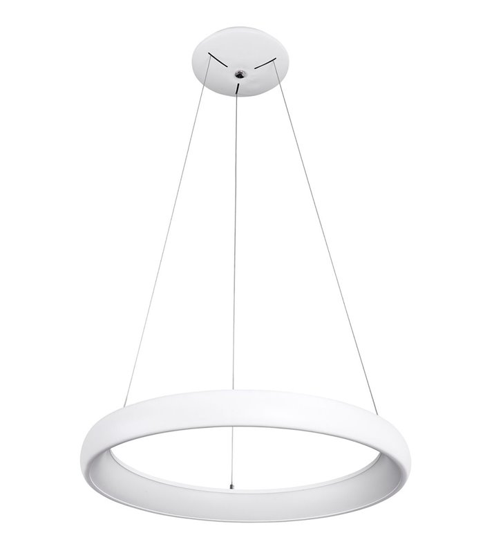 Lampa wisząca Alessia biała obręcz w nowoczesnym stylu