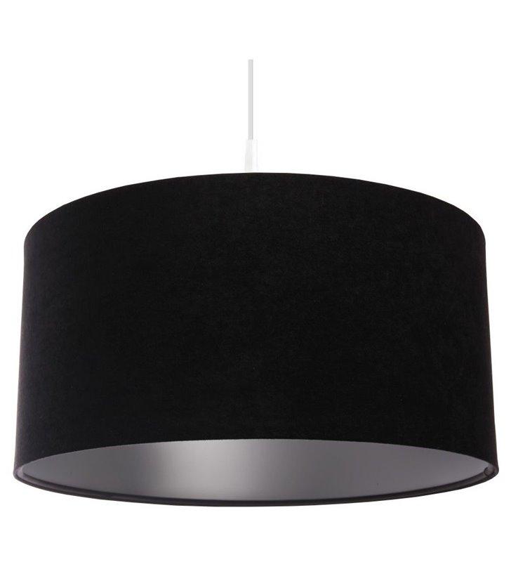 Czarno srebrna lampa wisząca Gloria Srebrna abażur czarny welurowy ze srebrnym środkiem 40cm