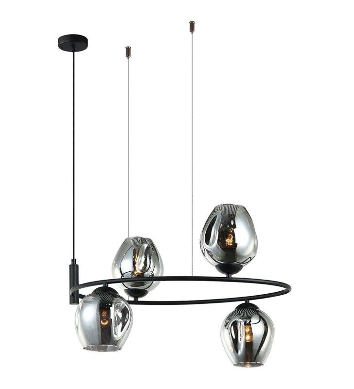 Lampa wisząca Roxane czarna z 4 szklanymi kloszami na obręczy
