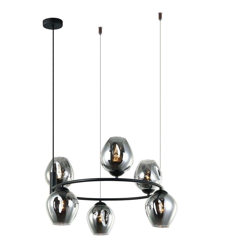 6 punktowa nowoczesna lampa wisząca Roxane czarna obręcz szklane klosze do salonu sypialni jadalni kuchni