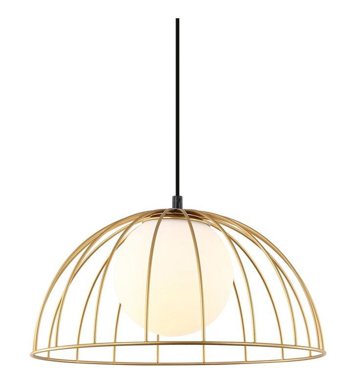Druciana złota lampa wisząca ze szklanym kloszem Louis - OD RĘKI