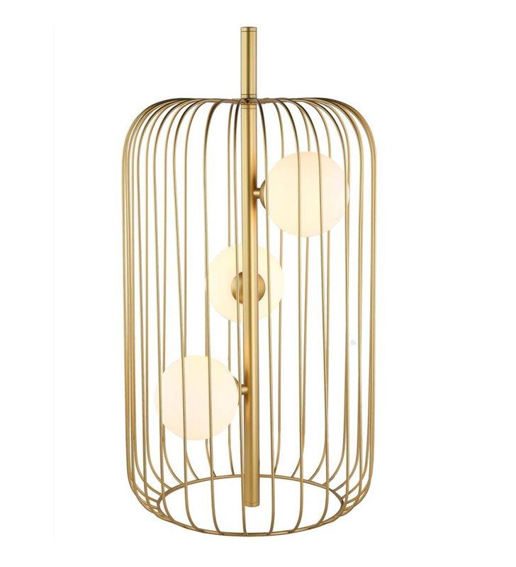 Złota duża druciana lampa stołowa Hayden 3 szklane klosze np. na komodę