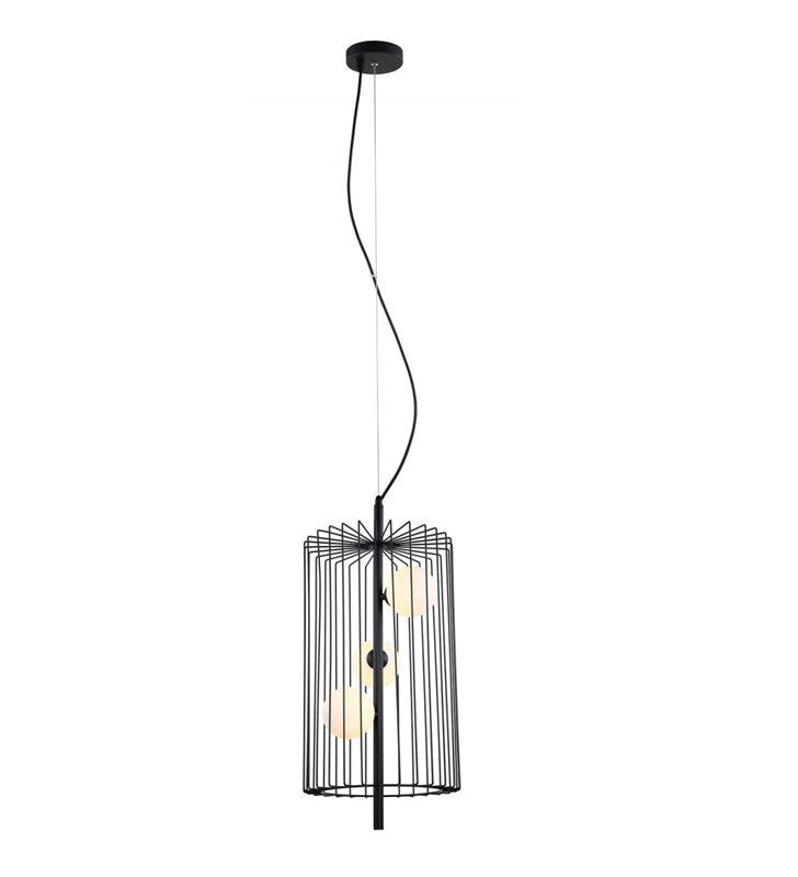 Czarna cylindryczna lampa wisząca Hayden druciana 3 szklane klosze