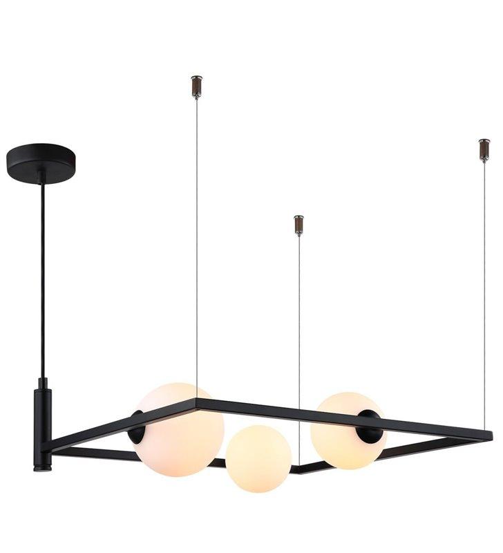 Lampa wisząca Gareth czarna kwadratowa konstrukcja z 3 szklanymi okrągłymi kloszami styl nowoczesny