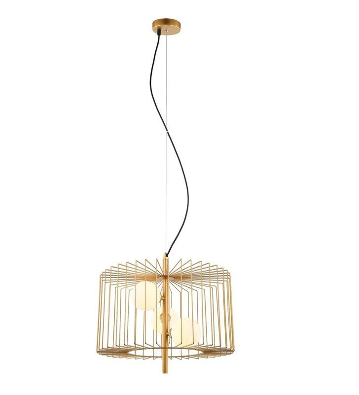Lampa wisząca Daren złota pękata druciana 3 szklane klosze wewnątrz
