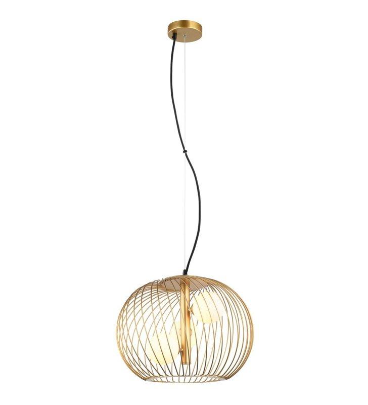 Lampa wisząca Clarisa złota druciana z 3 szklanymi kloszami wewnątrz do jadalni kuchni salonu sypialni