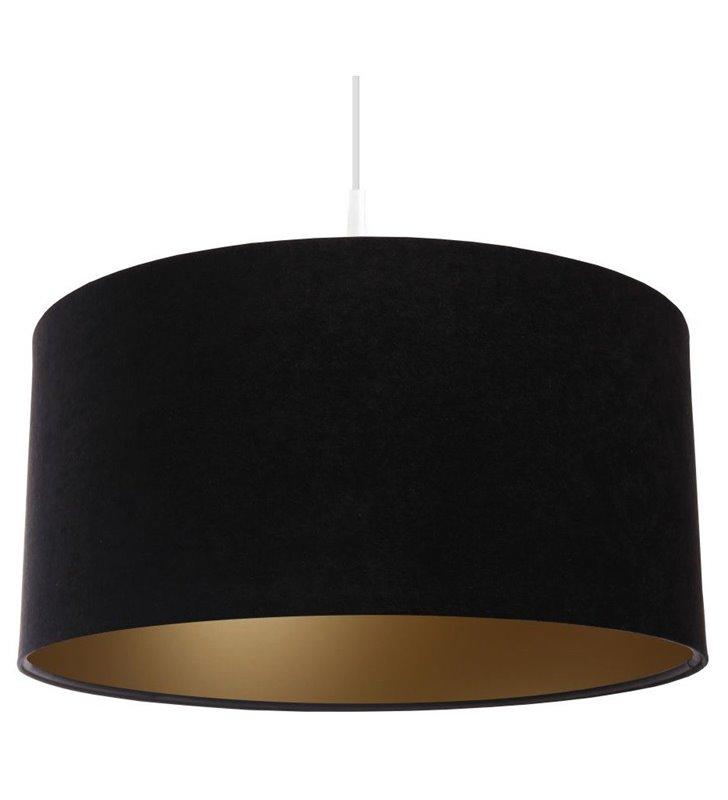 Lampa wisząca Gloria Złota o średnicy 40cm abażur czarny welur złoty środek